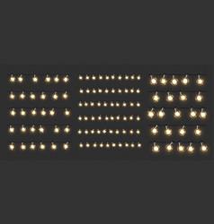 Christmas lights glow xmas garlands led bulbs vector