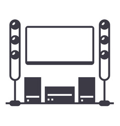 cinema roomhome theater line icon sign vector image