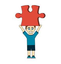 Colorful caricature boy with red puzzle piece up vector