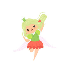 cute little winged fairy with light green hair vector image