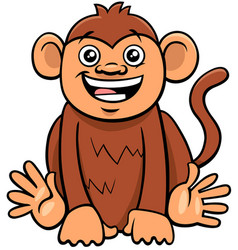 Cute monkey animal character cartoon vector