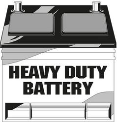 Cylinder battery heavy duty text vector