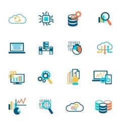 Database analytics icons flat vector image