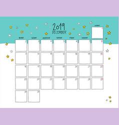December 2019 wall calendar doodle style vector