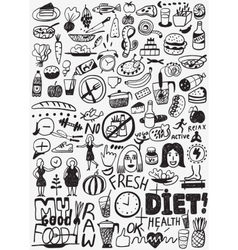 Diet raw food - doodles set vector image