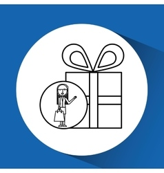 Drawing girl shopping with gift box vector
