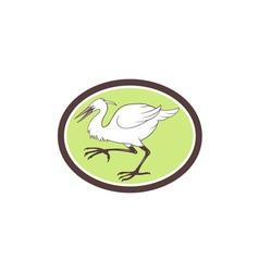 Egret Heron Crane Walking Cartoon vector