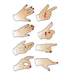 Eight woman hands vector