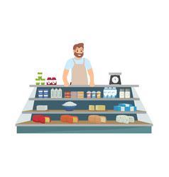 farmer selling products icon vector image