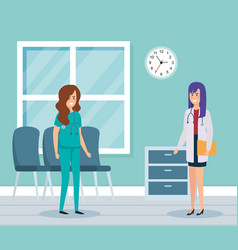 female doctor and practitioner in consulting room vector image
