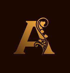 Floral a alphabet logo design image vector
