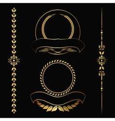 Gold contour decorative ornaments vector