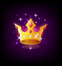 gold crown with precious stones and sparkles slot vector image