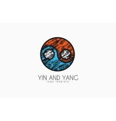 hand drawn ying yang symbol of harmony and balance vector image
