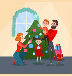 Happy family decorating christmas fir tree vector