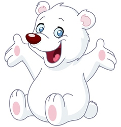 Happy white teddy bear vector