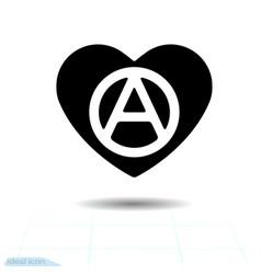 Heart black icon love symbol anarchy sign in vector