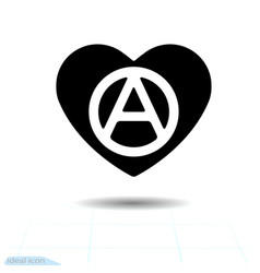 Heart black icon love symbol the anarchy sign vector