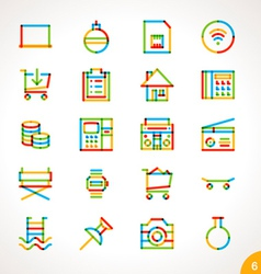 Highlighter Line Icons Set 6 vector image