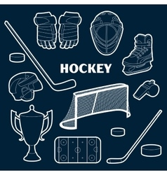 hockey icons set vector image
