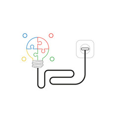 Icon concept glowing four part puzzle light vector