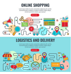 internet shopping and delivery banner vector image