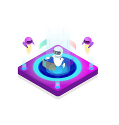 isometric artificial intelligence concept vector image