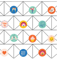 kids stationery seamless background vector image
