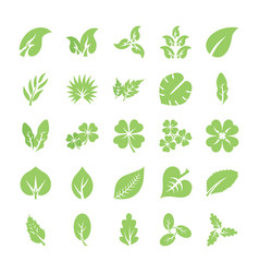 Leaf flat icon set vector
