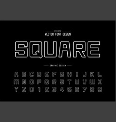 line font and alphabet square typeface letter vector image