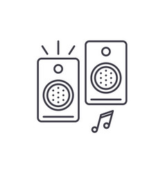 loudspeakers line icon concept loudspeakers vector image