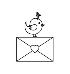 love card with cute bird vector image