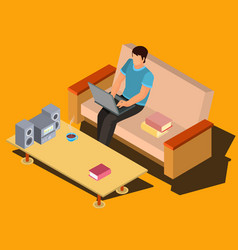 man using laptop on sofa at home isometric vector image