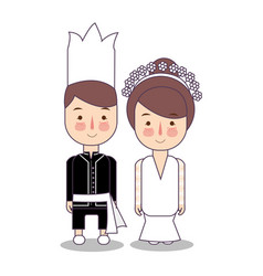 north sulawesi province wedding couple cute vector image