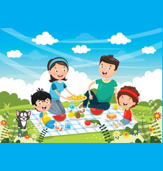 of family picnic vector image