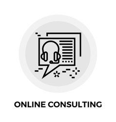 Online Consulting Line Icon vector