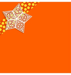 Orange background with white paper stars vector image