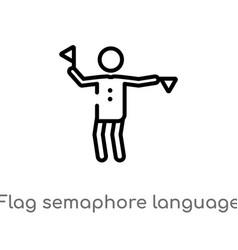 Outline flag semaphore language icon isolated vector
