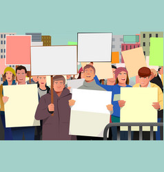 people holding pamphlet in demonstration vector image