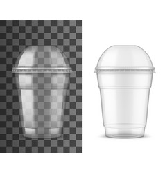 Plastic cup and dome lid package realistic mockup vector