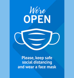 please keep safe social distancing and wear mask vector image