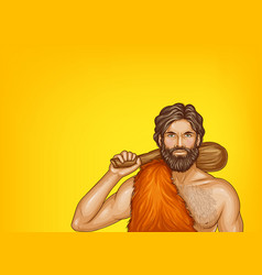 pop art caveman in fur loincloth vector image