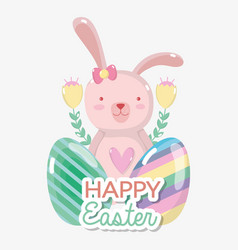 Rabbit female with eggs easter design vector