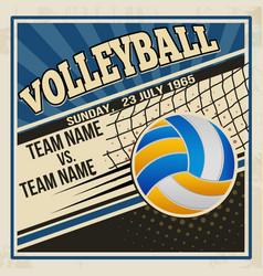 retro volleyball poster design vector image
