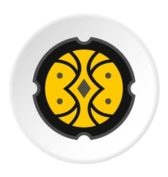 Round battle shield icon flat style vector