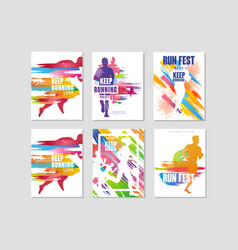 run fest posters set sport and competition vector image