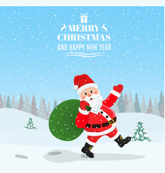 santa claus walking with bag of presents vector image