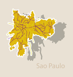 Sao paulo brazil sticker map isolated on vector