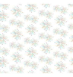 Seamless firework salute pattern isolated on white vector image