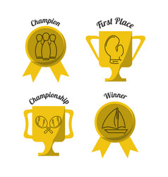 Set flat icon trophy and medal sport vector